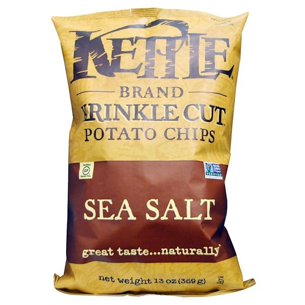 Kettle Foods, クリンクルカット(Krinkle Cut)ポテトチップ, 海塩, 13オンス(369 g) (Discontinued Item)