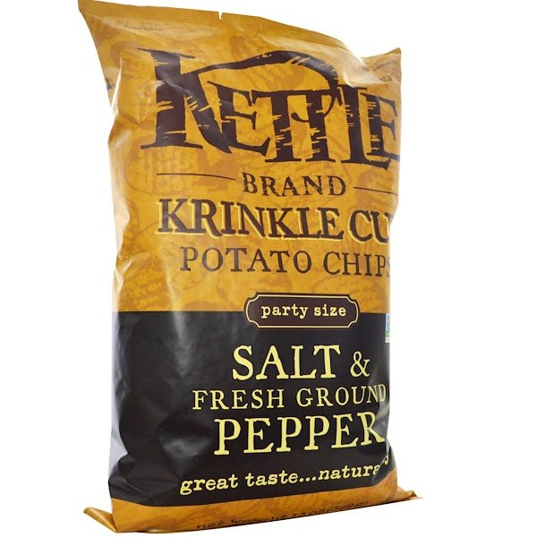 Kettle Foods, Krinkle Cut Potato Chips, Salt & Fresh Ground Pepper, 13 oz (369 g) (Discontinued Item)