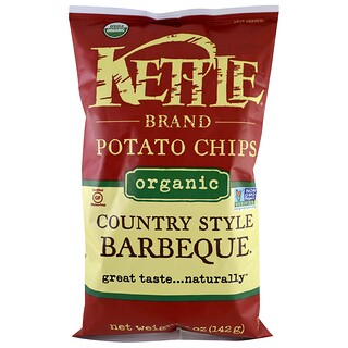 Kettle Foods, Organic Potato Chips, Country Style Barbeque, 5 oz (142 g)