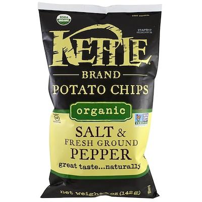 Kettle Foods Органические картофельные чипсы, соль и свежемолотый перец, 5 унций (142 г)