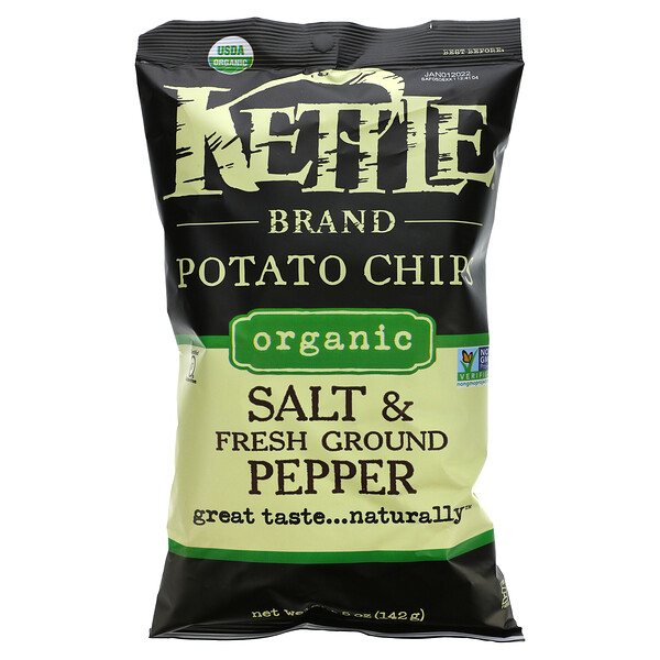 Kettle Foods, Organic Potato Chips, Salt and Fresh Ground Pepper, 5 oz (142 g)