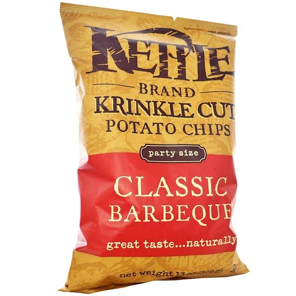 Kettle Foods, Рифленые картофельные чипсы с классическим вкусом барбекю, 13 унций (369 г) (Discontinued Item)