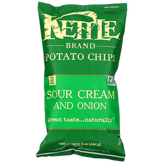 Kettle Foods, Potato Chips, Sour Cream and Onion, 5 oz (142 g)
