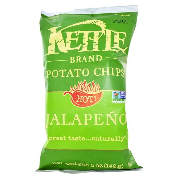 Kettle Foods, Potato Chips, Hot! Jalapeno, 5 oz (142 g)