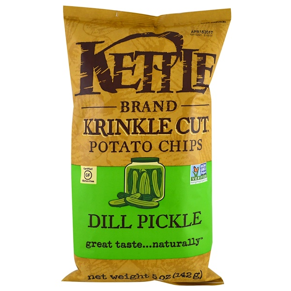 Kettle Foods, Krinkle Cut 감자칩, 딜 피클, 5 oz (142 g)
