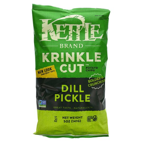 Kettle Foods, Krinkle Cut Potato Chips, Dill Pickle, 5 oz (141 g)