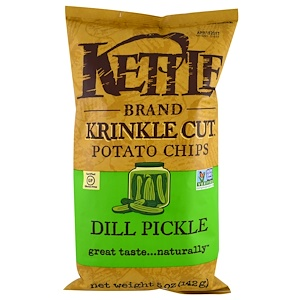 Кэттл фудс, Krinkle Cut Potato Chips, Dill Pickle, 5 oz (142 g) отзывы покупателей