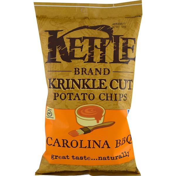 Kettle Foods, Krinkle Cut Potato Chips、カロライナバーベキュー、5 oz (142 g)