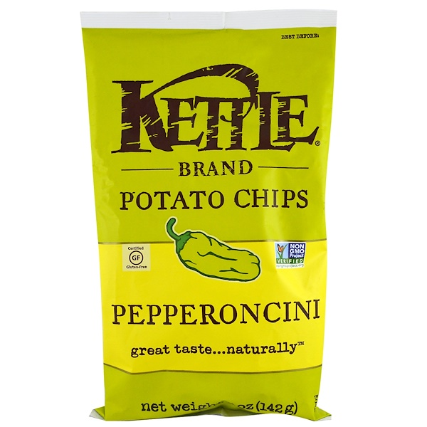 Kettle Foods, Patatas fritas, Pepperoncini, 5 oz (142 g)