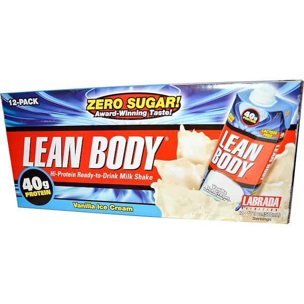 Labrada Nutrition, Lean Body, Hi-Protein Milk Shake, Vanilla Ice Cream, 12-Pack, 17 fl oz (500 ml) Each (Discontinued Item)