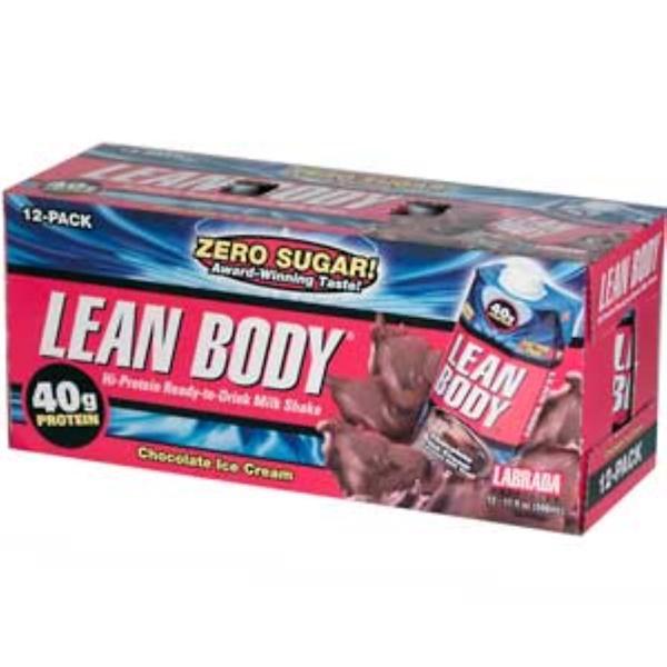 Labrada Nutrition, Lean Body, Hi-Protein Ready-to-Drink Milk Shake, Chocolate Ice Cream, 12 Bottles, 17 fl oz (500 ml) Each (Discontinued Item)