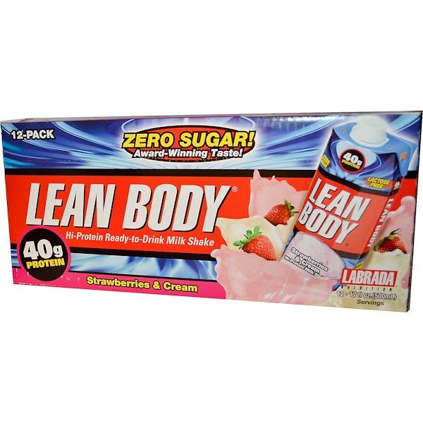Labrada Nutrition, Lean Body, Hi-Protein Ready-to-Drink Milk Shake, Strawberries & Cream, 12 Pack, 17 fl oz (500 ml) Each (Discontinued Item)