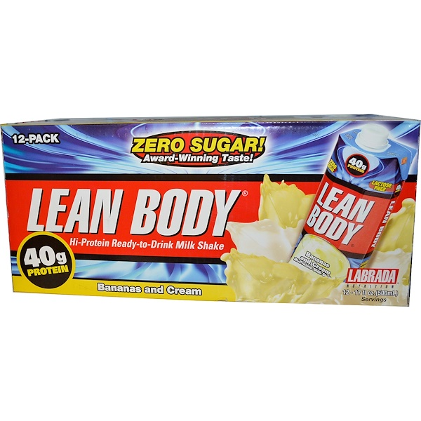 Labrada Nutrition, Lean Body Hi-Protein Ready-to-Drink Milk Shake, Bananas and Cream, 12 Shakes, 17 fl oz (500 ml) Each (Discontinued Item)