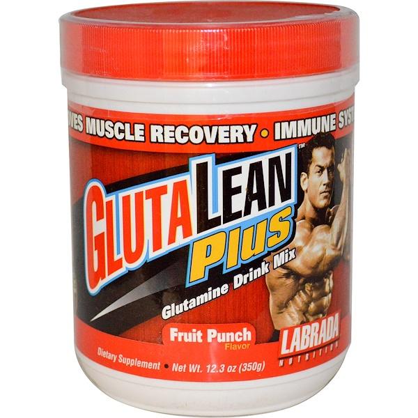Labrada Nutrition, GlutaLean Plus, Glutamine Drink Mix, Fruit Punch Flavor, 12.3 oz (350 g) (Discontinued Item)