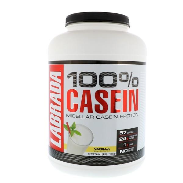 Labrada Nutrition, 100% 酪蛋白,香草口味,4 磅(1816 克)