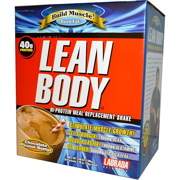 Labrada Nutrition, Lean Body, Chocolate Peanut Butter, 20 Packets, 2.78 oz (79 g) Each (Discontinued Item)