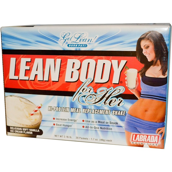 Labrada Nutrition, Lean Body for Her, Hi-Protein Meal Replacement Shake, Vanilla Ice Cream Flavor, 20 Packets, 1.7 oz (49 g) Each (Discontinued Item)
