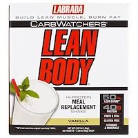 CarbWatchers Lean Body, ваниль 20 пакетиков, 2,29 унц. (65 г) каждый - фото