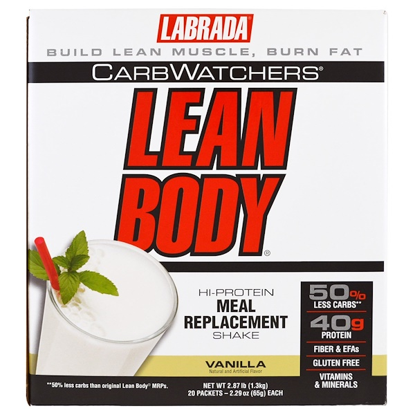 Labrada Nutrition, CarbWatchers Lean Body, Vanilla, 20 Packets, 2.29 oz (65 g) Each (Discontinued Item)