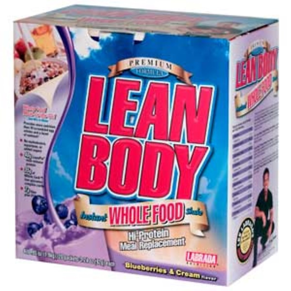 Labrada Nutrition, Lean Body Instant Whole Food Shake, Blueberries & Cream, 20 Packets, 3.24 (92 g) Each (Discontinued Item)