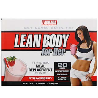 Labrada Nutrition, リーンボディーフォー・ハー、 高タンパク食事代用シェイク、ストロベリー味、20 袋、各1.73 oz (49 g)
