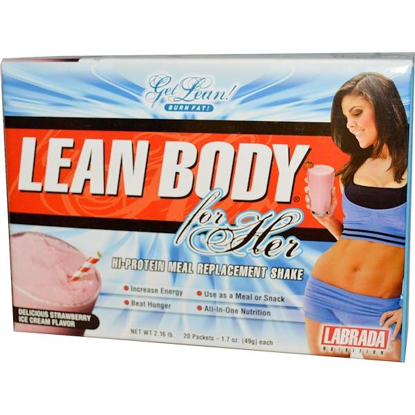 Labrada Nutrition, Lean Body for Her, заменитель пищи, вкус клубничного мороженого 20 пакетиков, 1.7 унции (49 г) каждый (Discontinued Item)