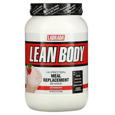 Купить Labrada Nutrition LeanBody, заменитель пищи с высоким содержанием протеина, со вкусом клубники, 1120г (2, 47фунта)