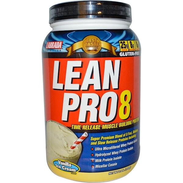 Labrada Nutrition, Lean Pro8, протеин для набора мышечной массы замедленного высвобождения, вкус ванильного мороженого, 2,9 фунта (1320 г) (Discontinued Item)