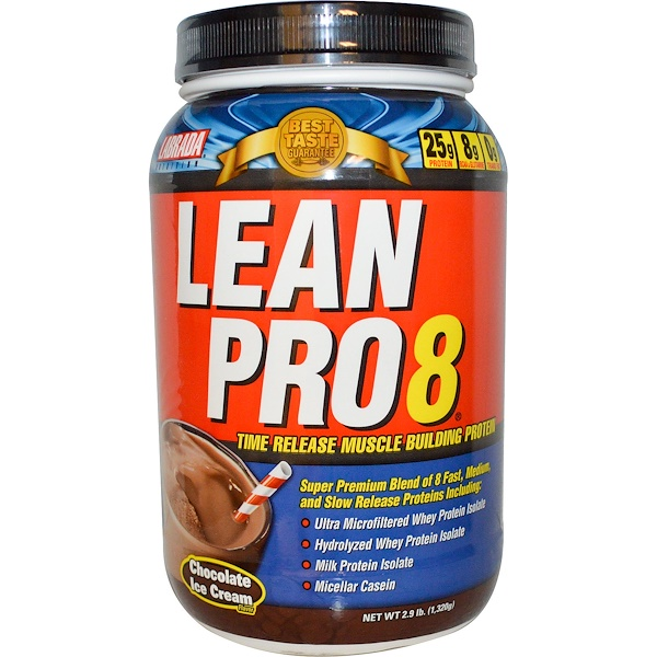 Labrada Nutrition, Lean Pro8, Time Release Muscle Building Protein, Chocolate Ice Cream, 2.9 lbs (1,320 g) (Discontinued Item)