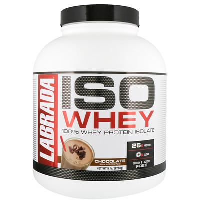 Купить Labrada Nutrition ISO Whey, 100%-ный изолят сывороточного белка, шоколад, 5 фунтов (2268 г)