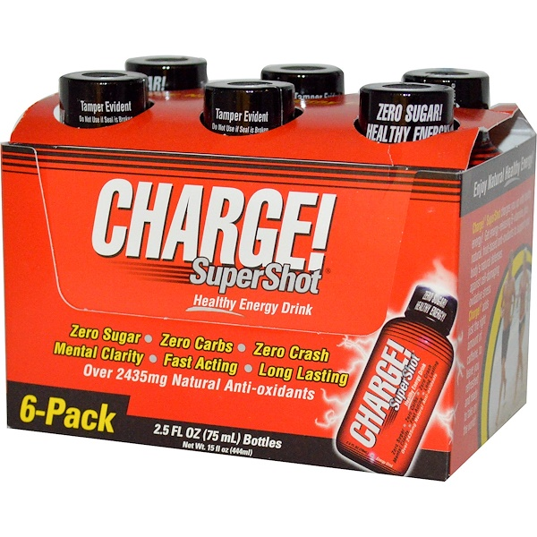 Labrada Nutrition, Charge! Super Shots, 6-Pack, 2.5 fl oz (75 ml) Each
