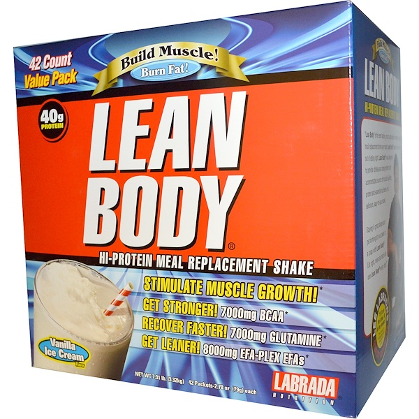 Labrada Nutrition, Lean Body, Hi-Protein Meal Replacement Shake, Vanilla Ice Cream Flavor, 42 Packets, 2.78 oz (79 g) Each (Discontinued Item)