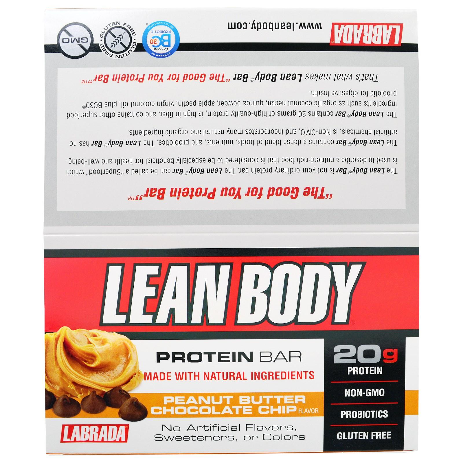 """Labrada Nutrition, """"Стройное тело"""", белковые батончики со вкусом арахисовой пасты с кусочками шоколада, 12 батончиков по 2,54 унции (72 г)"""
