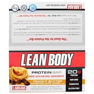 Labrada Nutrition, Lean Body Protein Bar, Peanut Butter Chocolate Chip Flavor, 12 Bars, 2.54 oz (72 g) Each