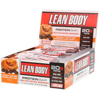 Labrada Nutrition, Lean Body Protein Bar, Peanut Butter Chocolate Chip Flavor, 12 Bars, 2.54 oz (72 g) Each