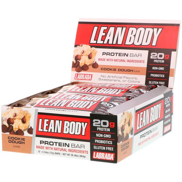 """Labrada Nutrition, """"Стройное тело"""", белковые батончики со вкусом начинки для печенья, 12 батончиков по 2,54 унции (72 г) (Discontinued Item)"""