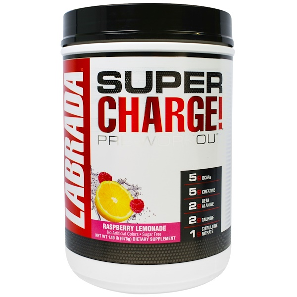 Labrada Nutrition, Super Charge! Pre-Workout, Raspberry Lemonade, 1.49 lb (675 g) (Discontinued Item)
