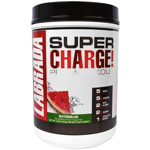 Labrada Nutrition, Super Charge! Pre-Workout, Watermelon, 1.49 lb (675 g) (Discontinued Item)
