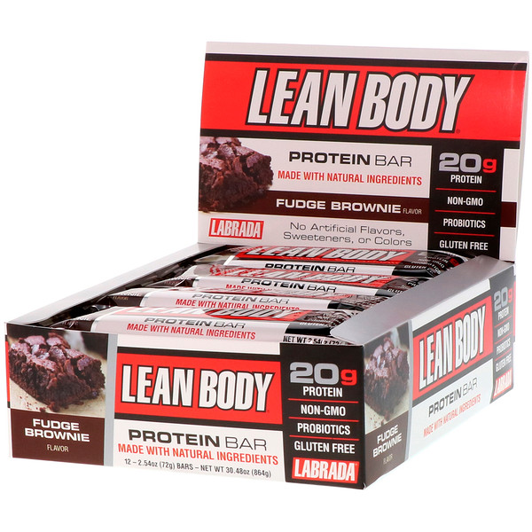 Labrada Nutrition, Lean Body Protein Bar, Fudge Brownie, 12 Bars, 2.54 oz (72 g) Each (Discontinued Item)