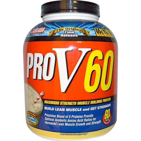 Labrada Nutrition, ProV60, Maximum Strength Muscle Building Protein, Vanilla Ice Cream Flavor, 3.5 lbs (1589 g) (Discontinued Item)