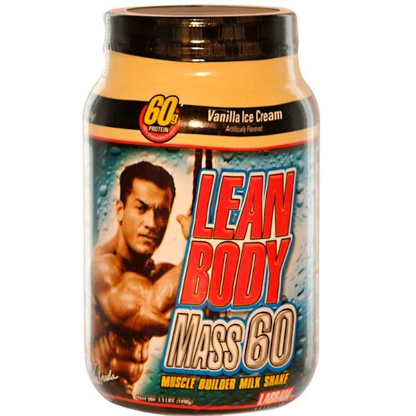 Labrada Nutrition, Lean Body Mass 60, Muscle Builder Milk Shake, Vanilla Ice Cream, 3.3 lbs (1498 g) (Discontinued Item)