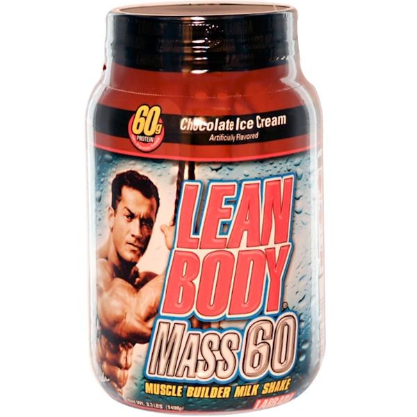 Labrada Nutrition, Lean Body Mass 60, Muscle Builder Milk Shake, Chocolate Ice Cream, 3.3 lbs (1498 g) (Discontinued Item)