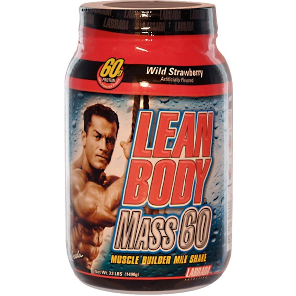 Labrada Nutrition, Lean Body Mass 60, Muscle Builder Milk Shake, Wild Strawberry, 3.3 lbs (1498 g) (Discontinued Item)