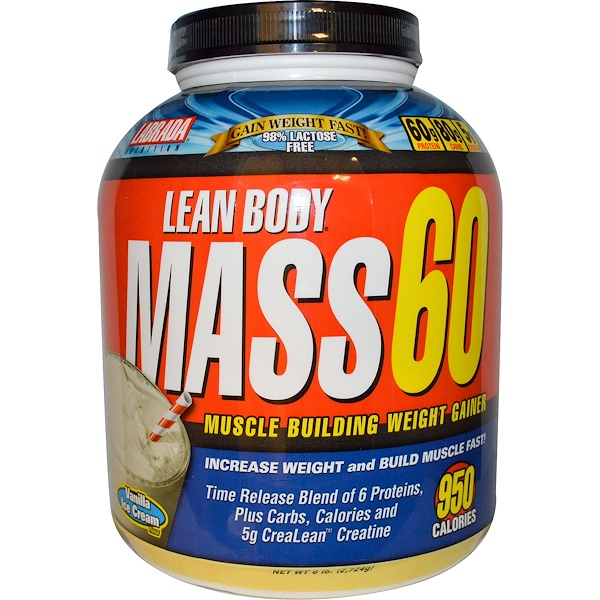 Labrada Nutrition, Lean Body Mass 60, Muscle Building Weight Gainer, Vanilla Ice Cream Flavor, 6 lbs (2724 g) (Discontinued Item)