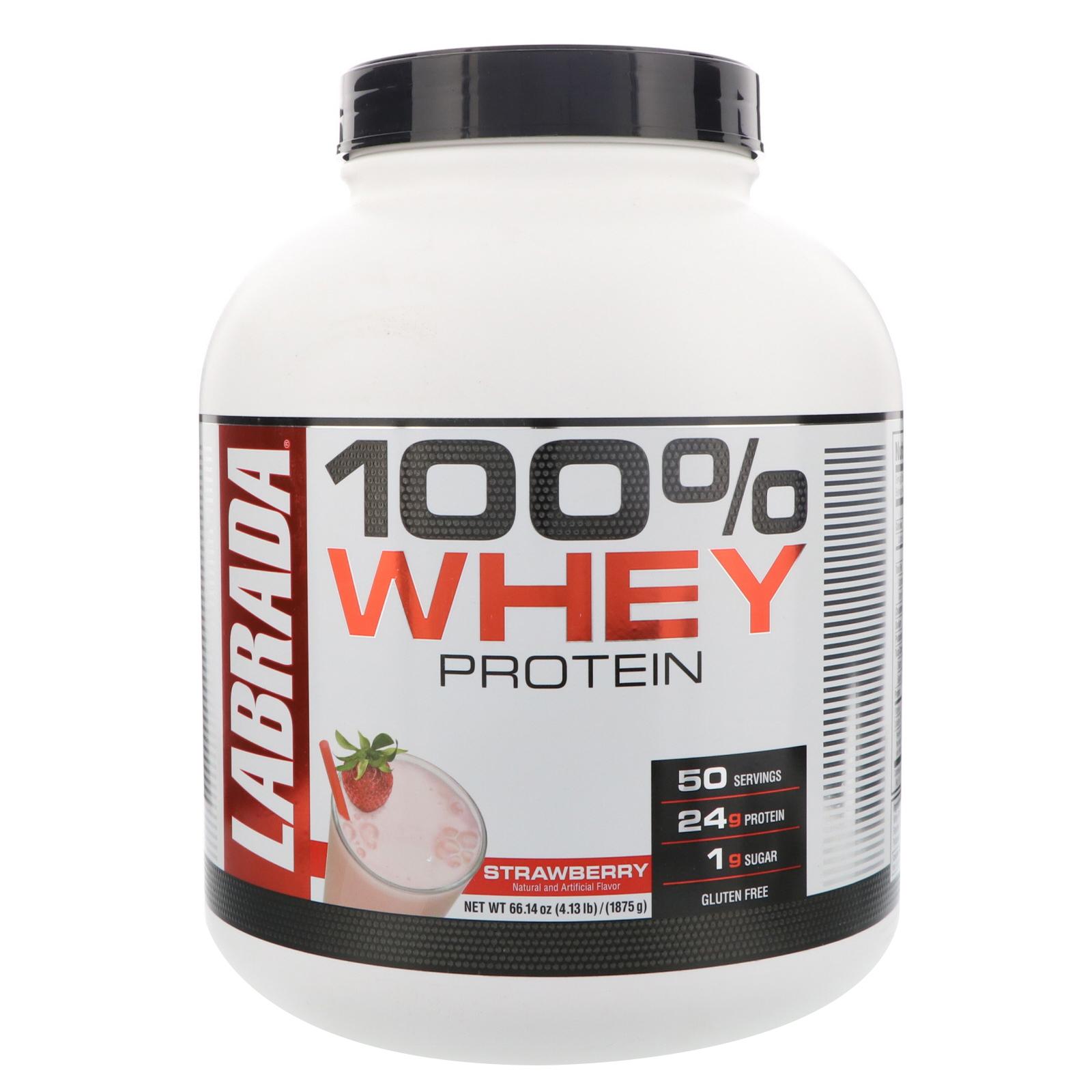 Labrada Nutrition, 100% Whey Protein, Strawberry, 4.13 lbs (1875 g)