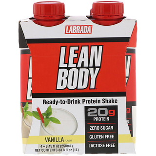 Labrada Nutrition, Lean Body, Ready-to-Drink Protein Shake, Vanilla, 4 Shakes, 8.45 fl oz (250 ml) Each