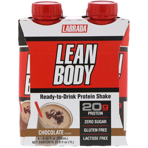 Labrada Nutrition, Lean Body, готовый к употреблению протеиновый коктейль, шоколадный вкус, 4 коктейля, 8,45 ж. унц. (250 мл) каждый (Discontinued Item)