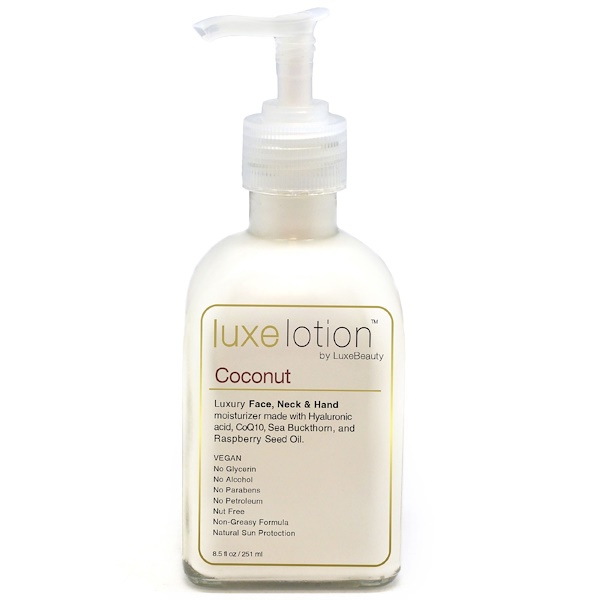 Luxe Beauty, Luxe Lotion, Luxury Face, Body, & Hand Moisturizer, Coconut, 8.5 fl oz (251 ml) (Discontinued Item)