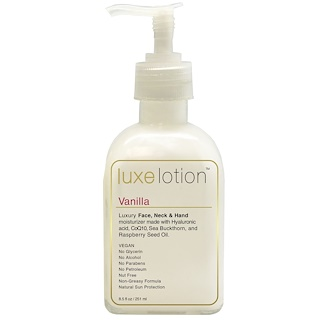 Luxe Beauty, Luxe Lotion, Luxury Face, Neck, & Hand Moisturizer, Vanilla, 8.5 fl oz (251 ml)