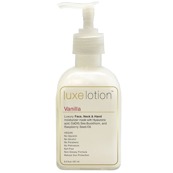 LuxeBeauty, Luxe Lotion, Luxury Face, Neck, & Hand Moisturizer, Vanilla, 8.5 fl oz (251 ml)